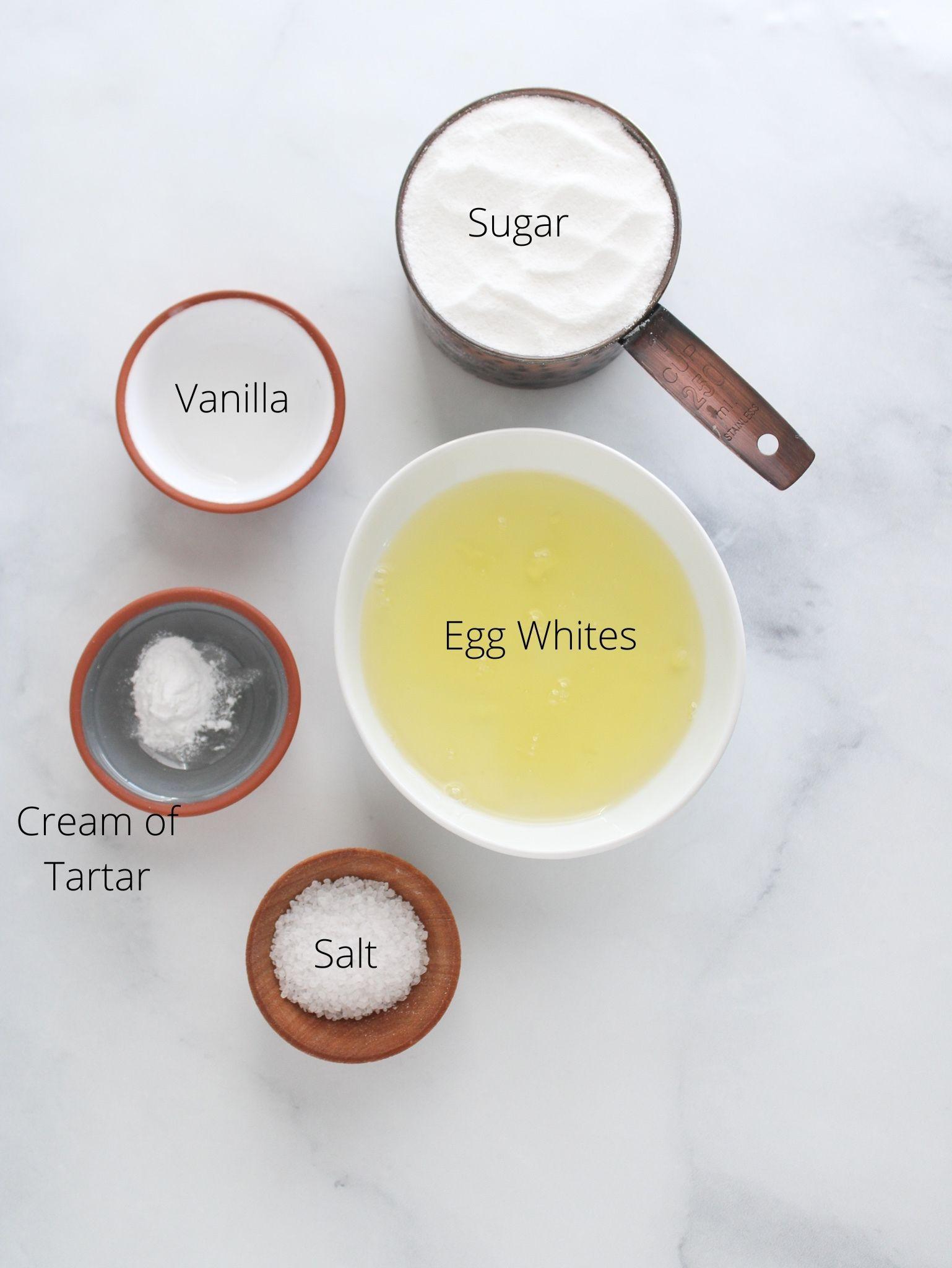 meringue cookie pop ingredients with egg whites, sugar, cream of tartar, salt and vanilla