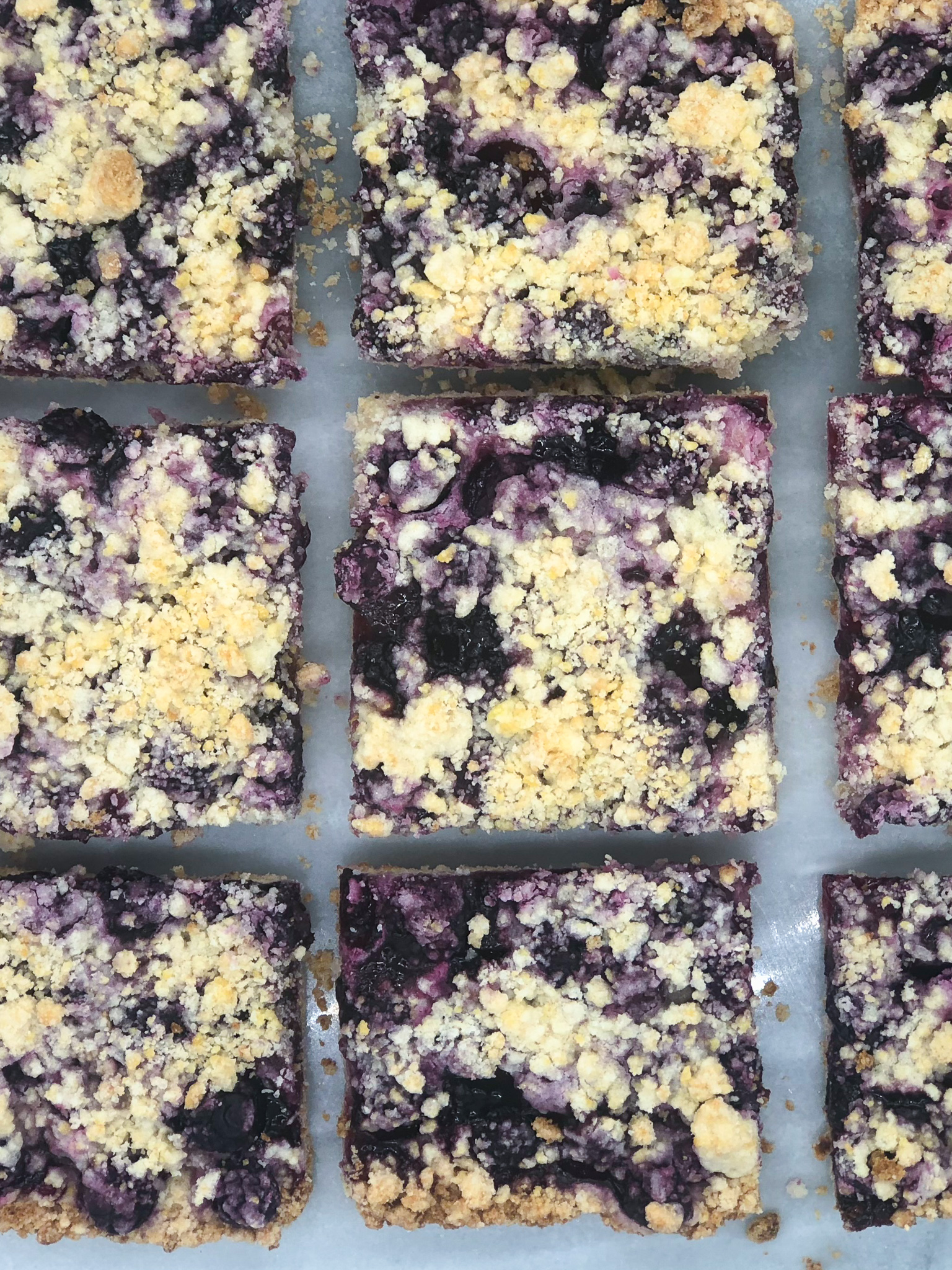 Gluten-free blueberry crumb bars.