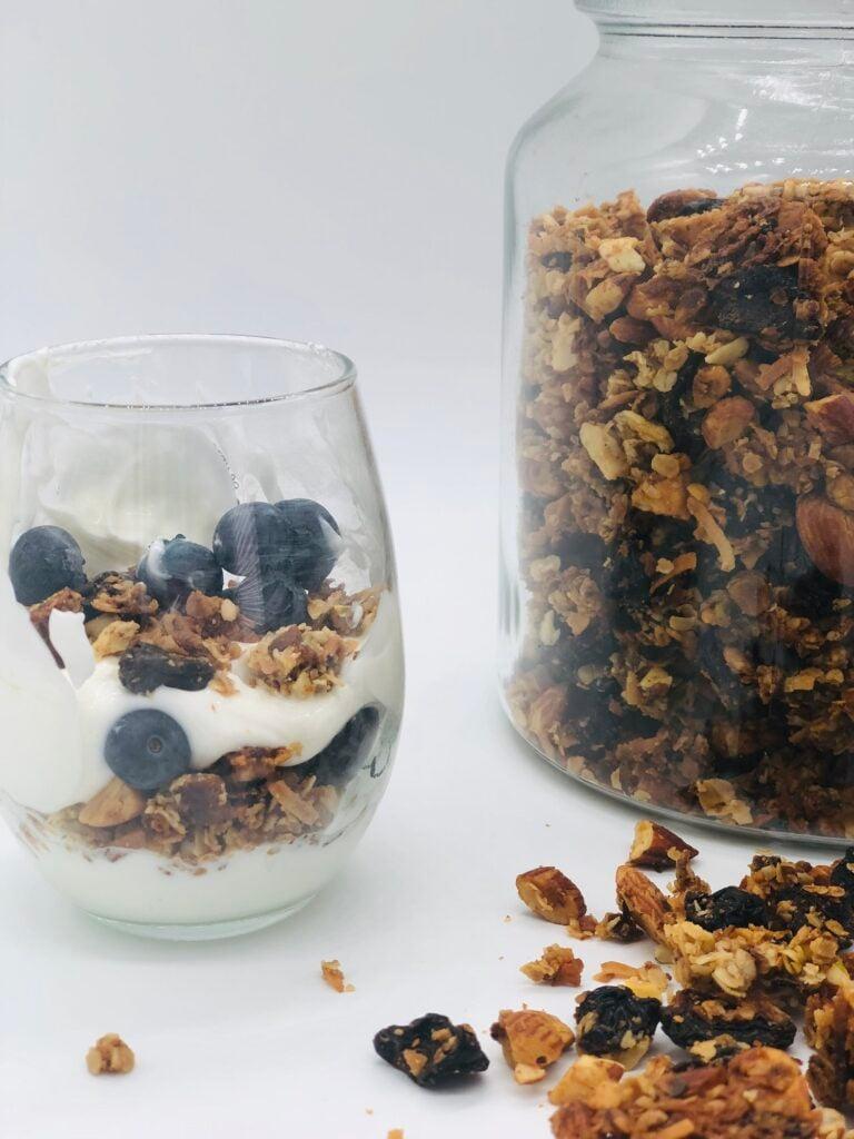 homemade gluten free cherry, berry granola