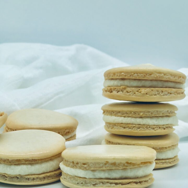 homemade vanilla macarons in a stack