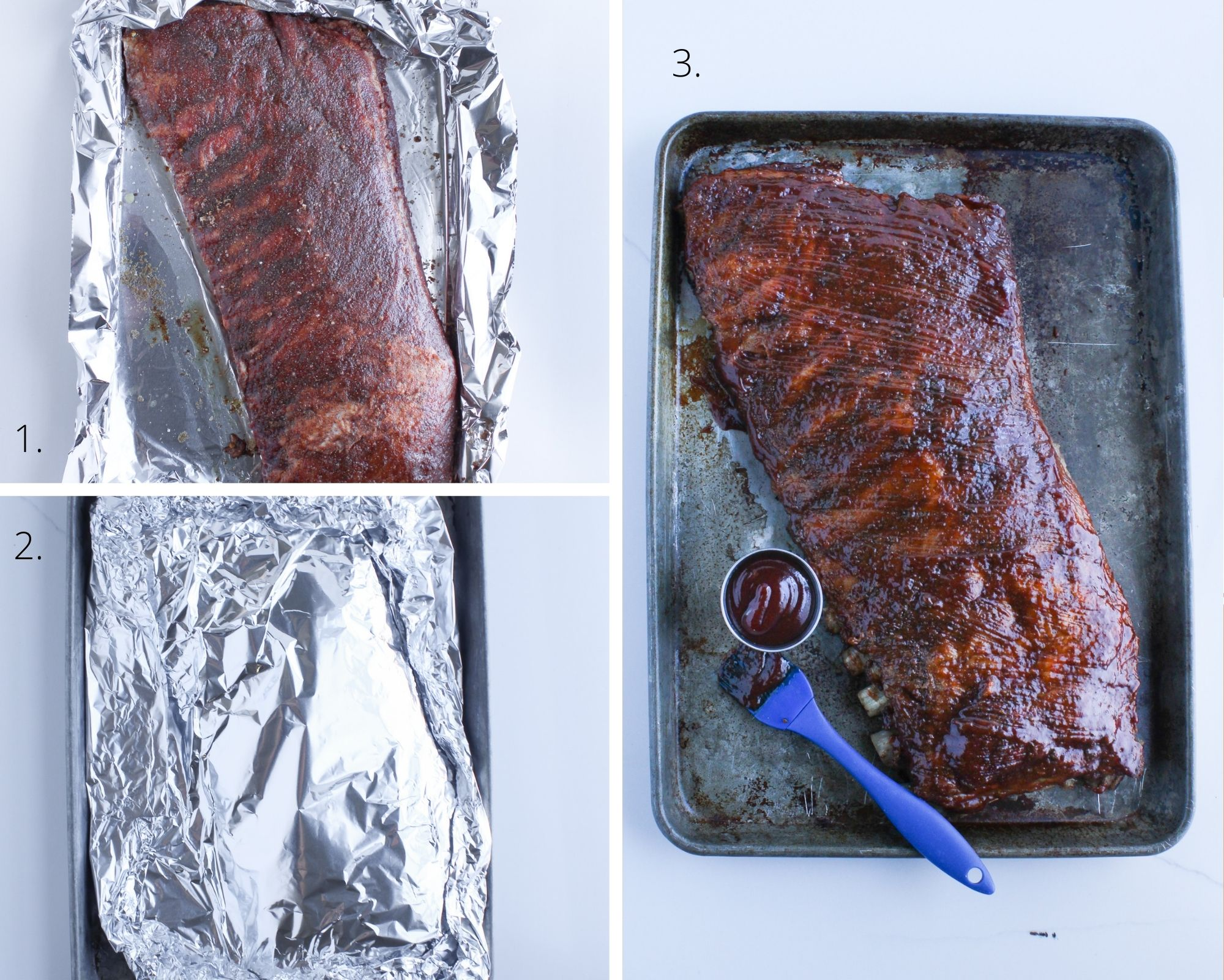 Steps for making oven pork ribs are simple with season, bake and sear for the perfect fall off the bone bbq ribs.