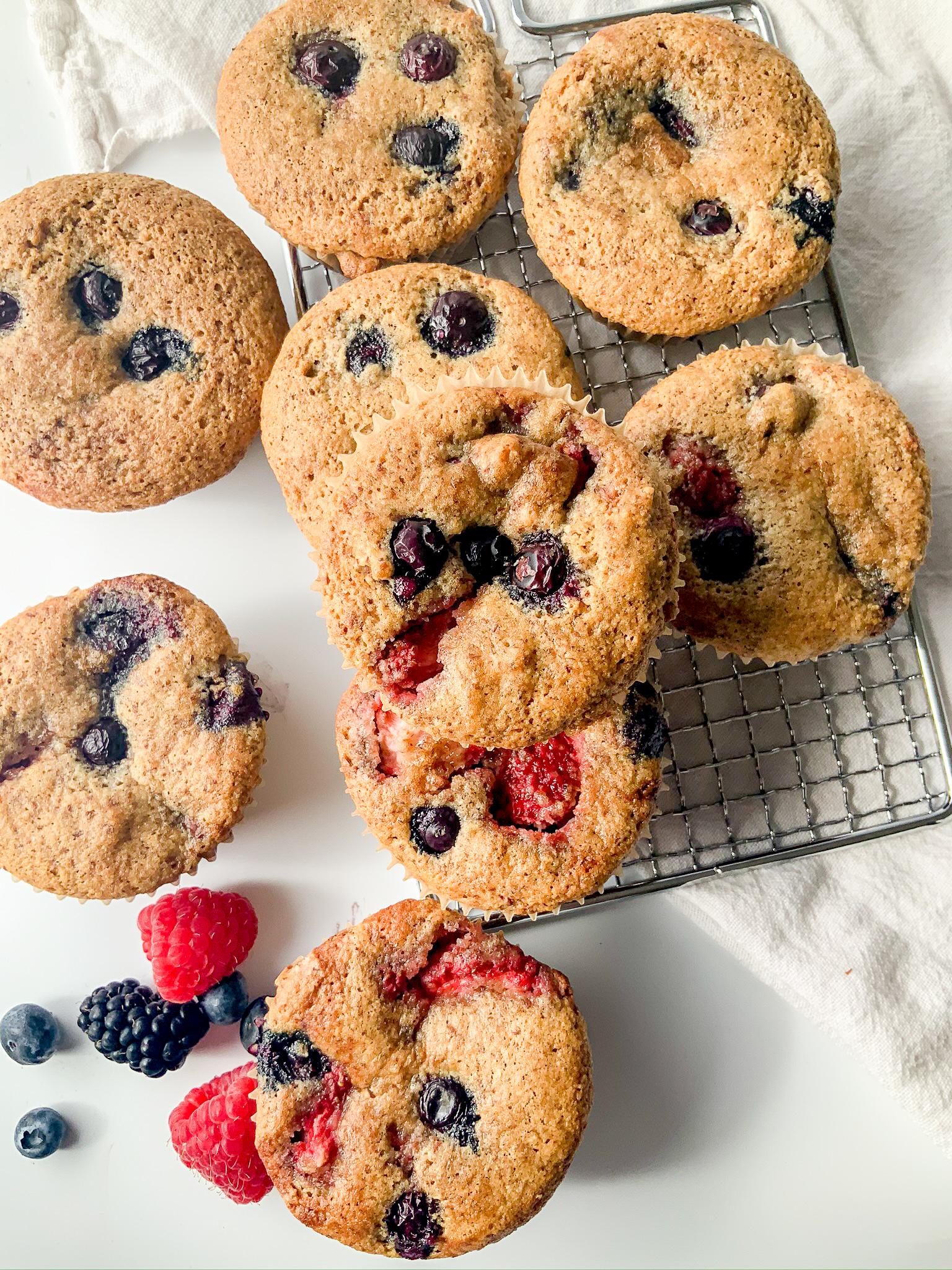 gluten free triple berry muffins