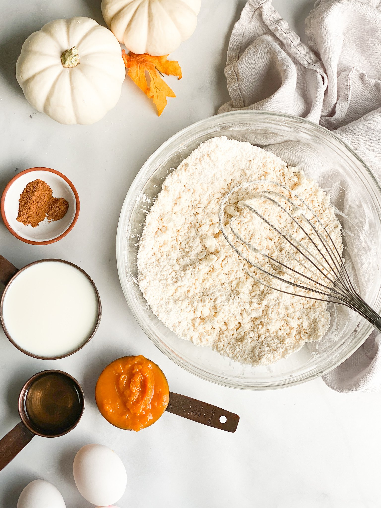 Step 1 of pumpkin waffles is to combine the cassava, arrowroot, sugar and salt to a bowl with the soft butter. Like cutting butter for making pie cut the butter into the flour mixture until it resembles wet sand with a few pieces of butter.