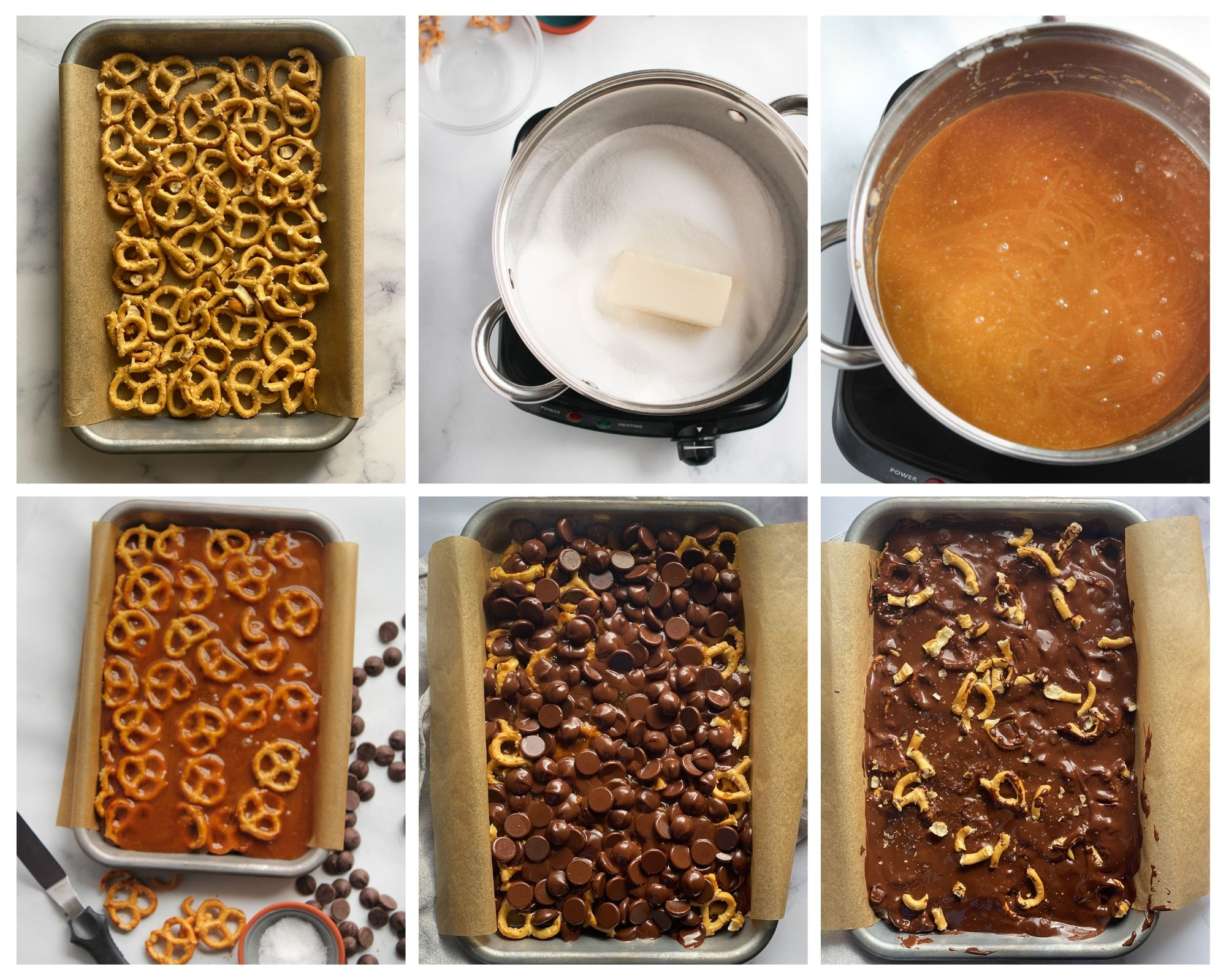 Steps to making chocolate cover pretzel toffee bark. 1. Spread the pretzels. 2. Combine the butter, brown sugar and vanilla into a pot. 3. Stir until it becomes bubbly. 4. Place the pan into a 325 degree oven for 5 minutes. 5. Add the chocolate chips to the top and return it to the oven for another 1-2 minutes to melt. 6. Spread the chocolate smooth and top with additional crushed pretzels and sea salt if desired and let it cool.