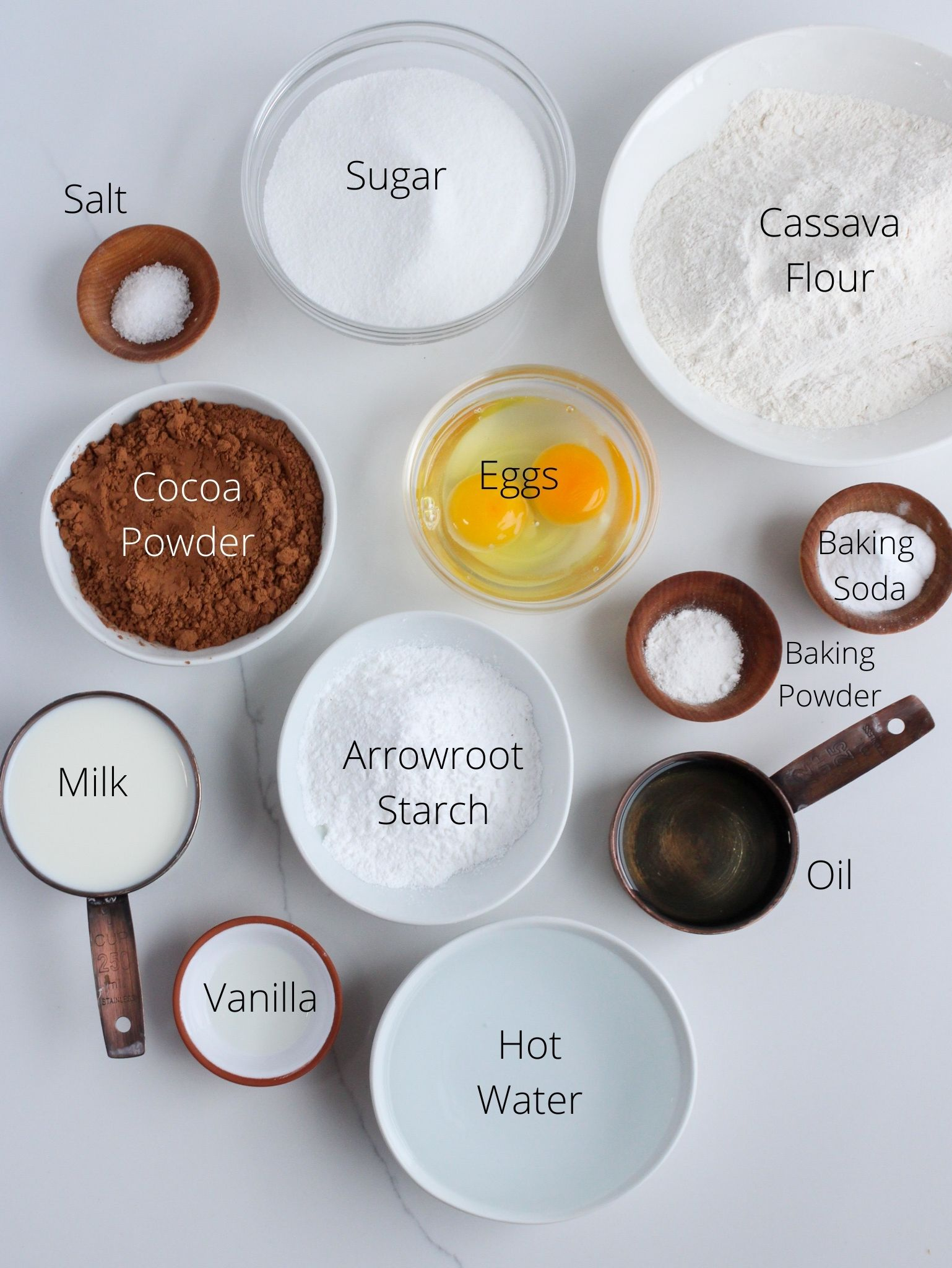 Gluten-free chocolate cake ingredients laid out.
