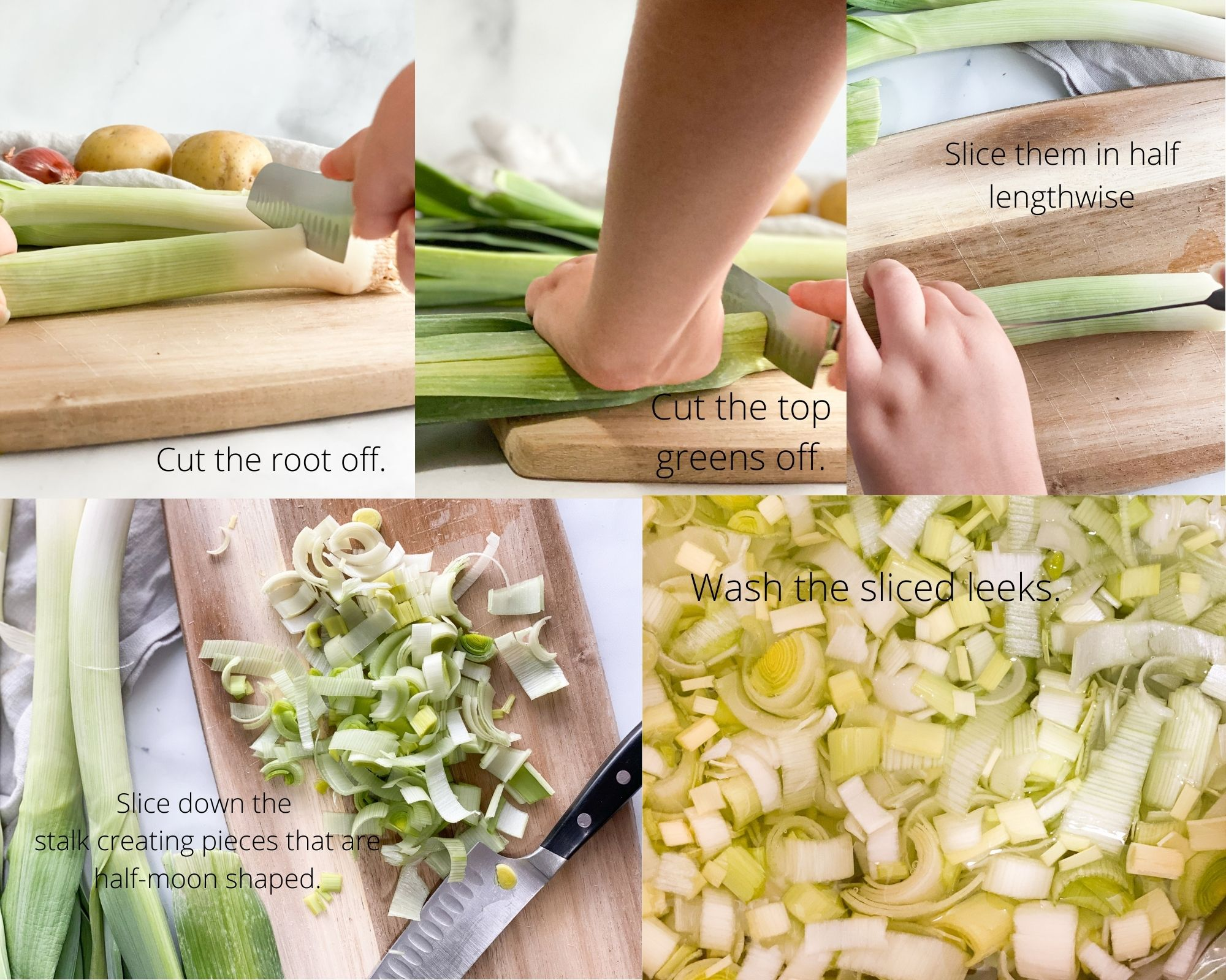Steps to cut and wash leeks. Cut the white root off.  Cut the upper greens off. Slice the stalk in half lengthwise. Cut the stalks into half moon shaped pieces. Wash to release any trapped dirt.