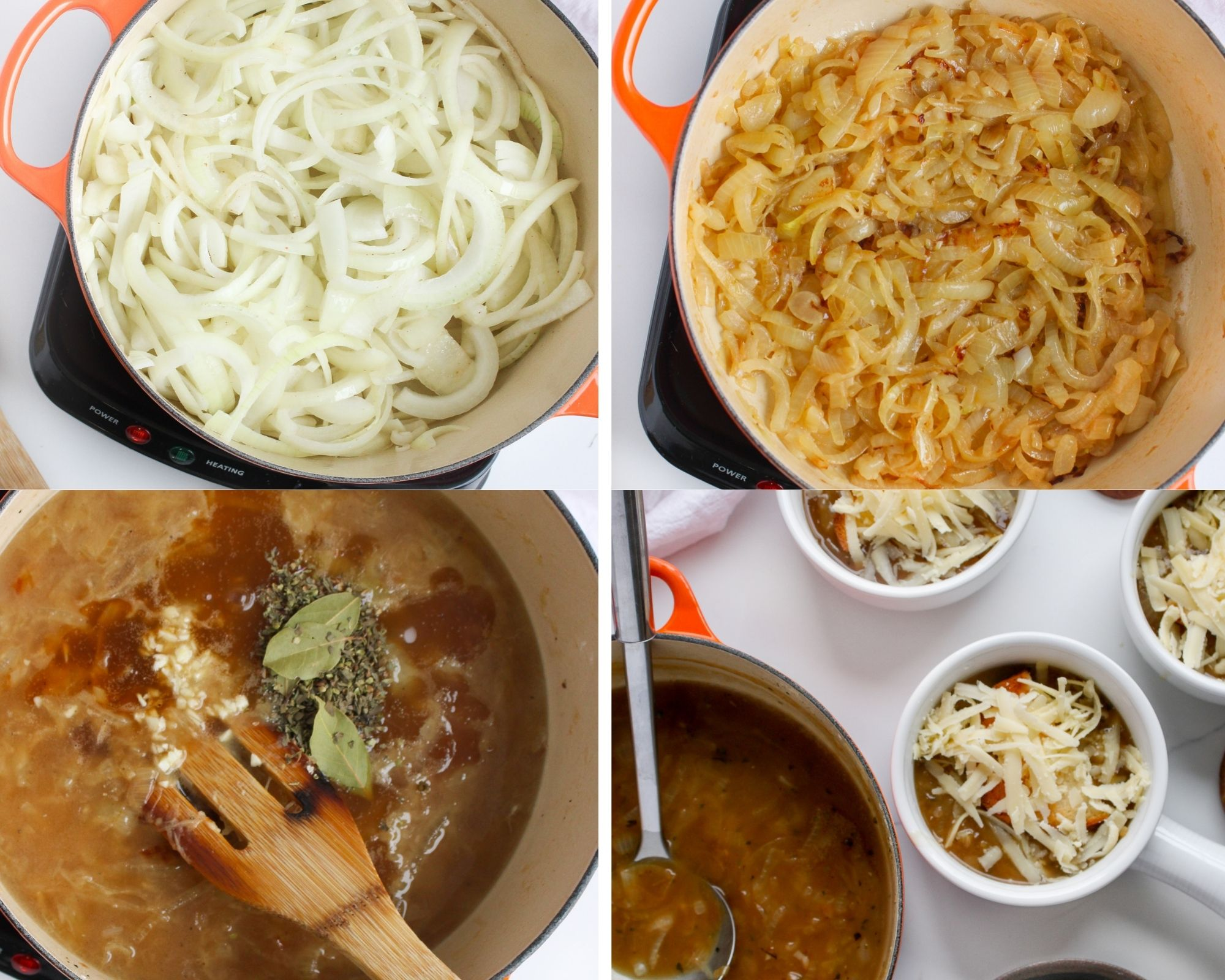 Caramelized French onion soup steps