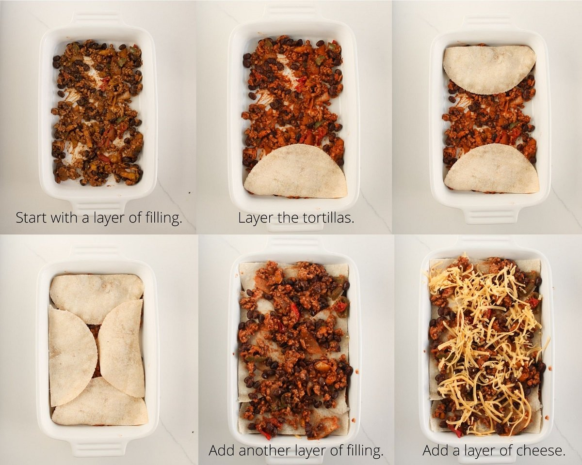 Collage of layering steps for building the Mexican breakfast casserole starting with the filling and layering the tortillas and cheese.