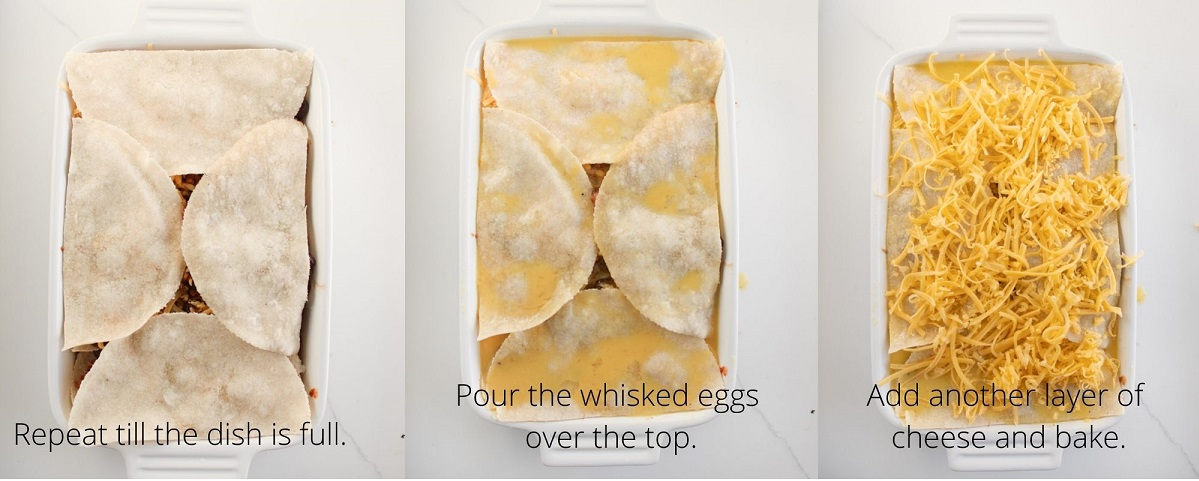 Steps to p off the mexican casserole dish with the whisked eggs and more cheese before baking.