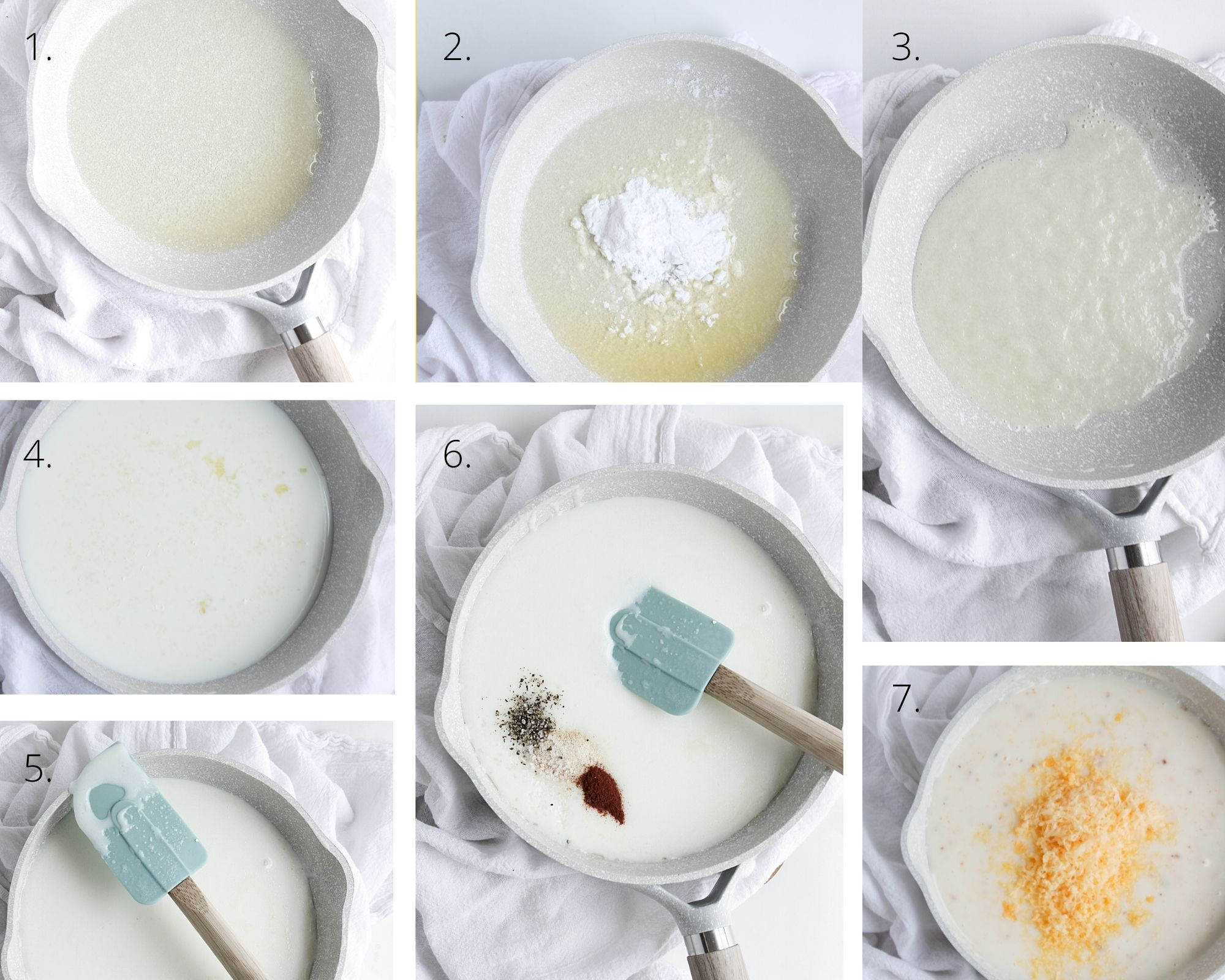 Steps for making gluten-free cheddar cheese sauce for veggies including making the roux, adding the liquid, adding the spices, bring it all together with the shredded cheddar