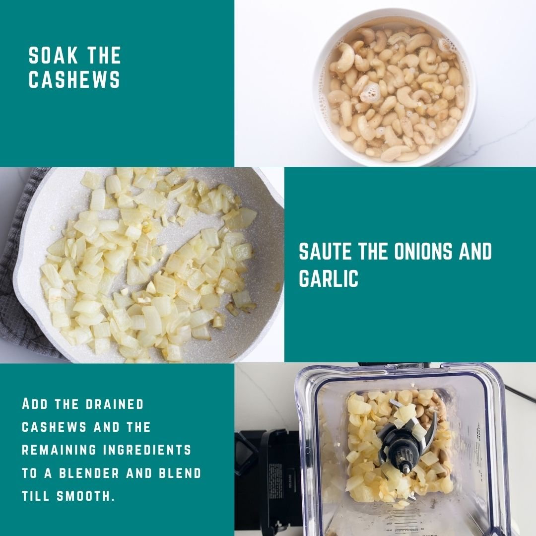 Steps for making dairy-free alfredo sauce. 1. soak the cashews. 2. Saute the onions and garlic until soft. 3. Add the drained cashews and the remaining ingredients to a blender and blend until it's smoother. Enjoy it over your favorite gluten-free pasta.