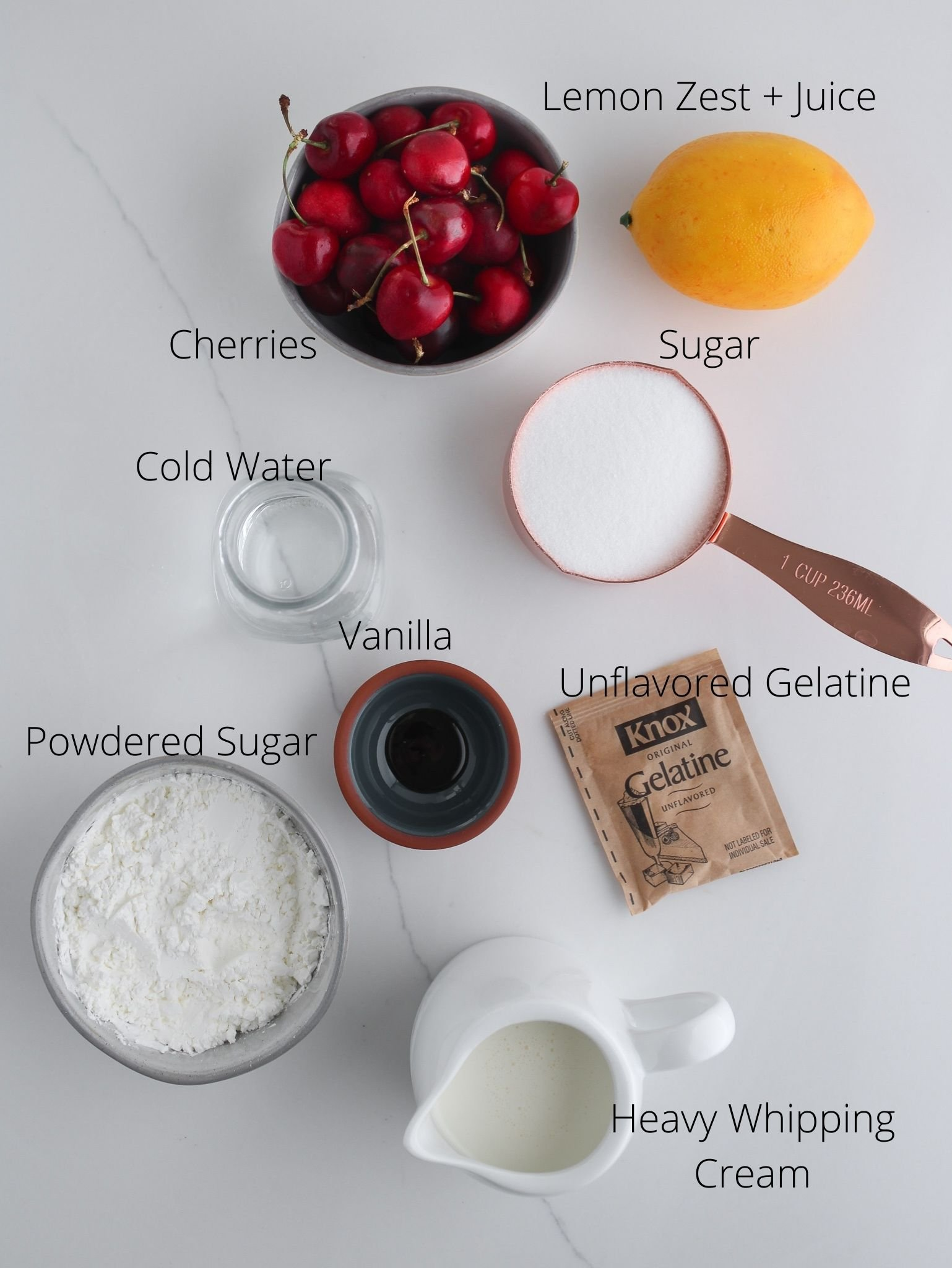 Ingredients needed to turn chocolate cake into delicious gluten free black forest cake.