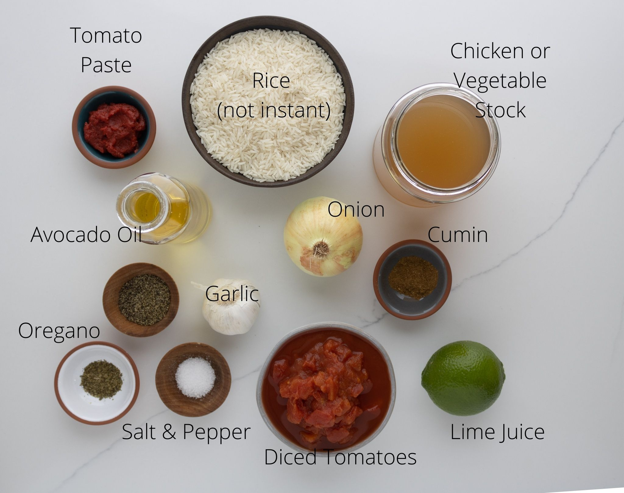 Mexican rice ingredients laid out