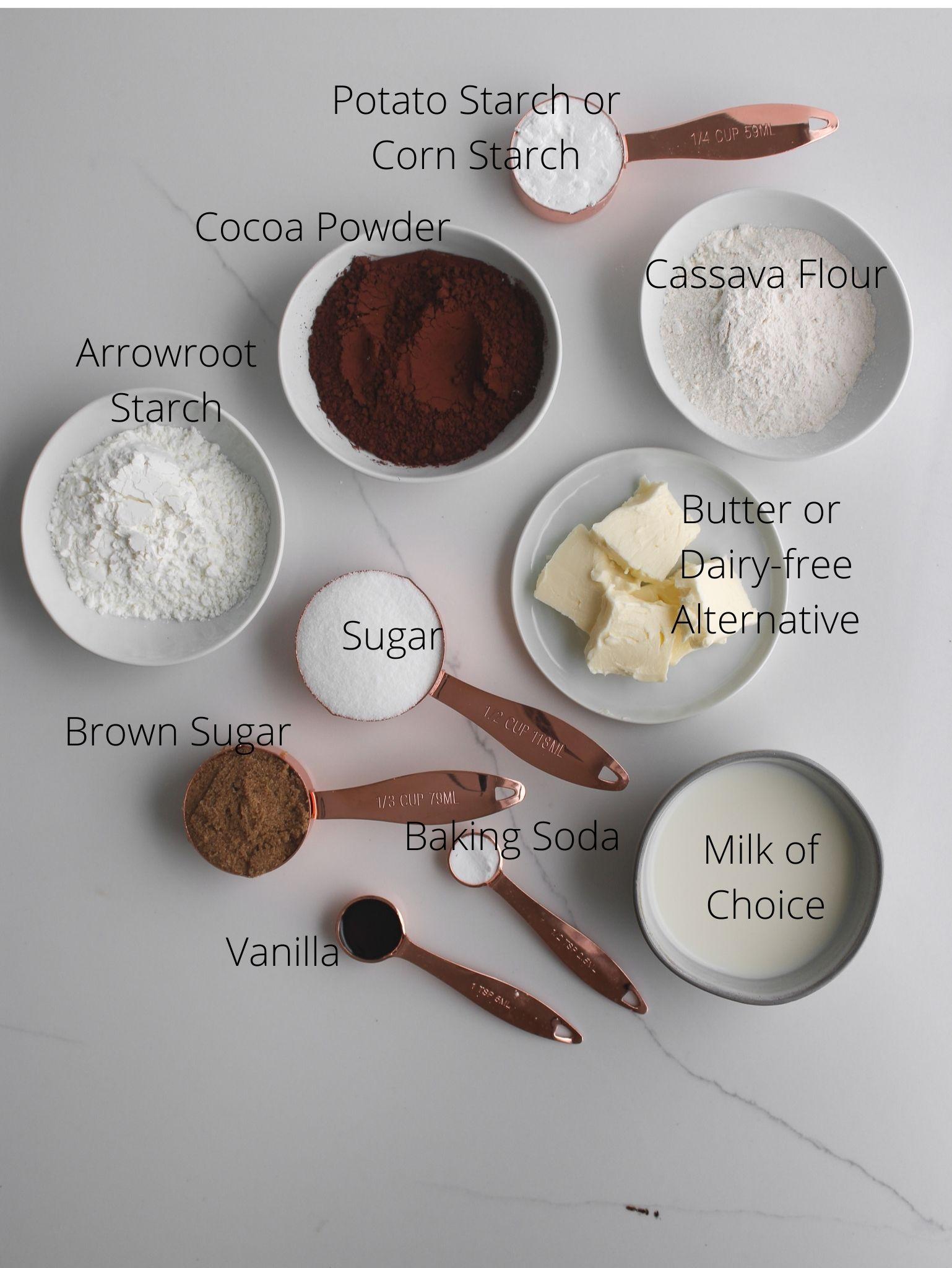 Gluten-free Ice Cream Sandwich cookie ingredients laid out.