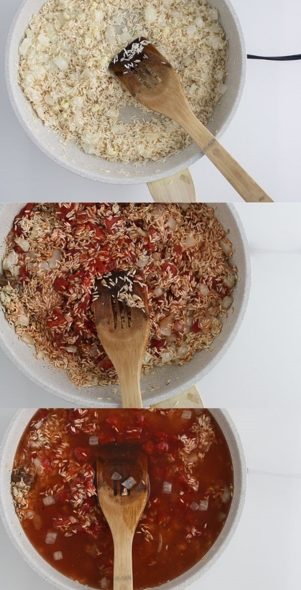 Mexican rice steps from toasting the onion and rice to letting it simmer.