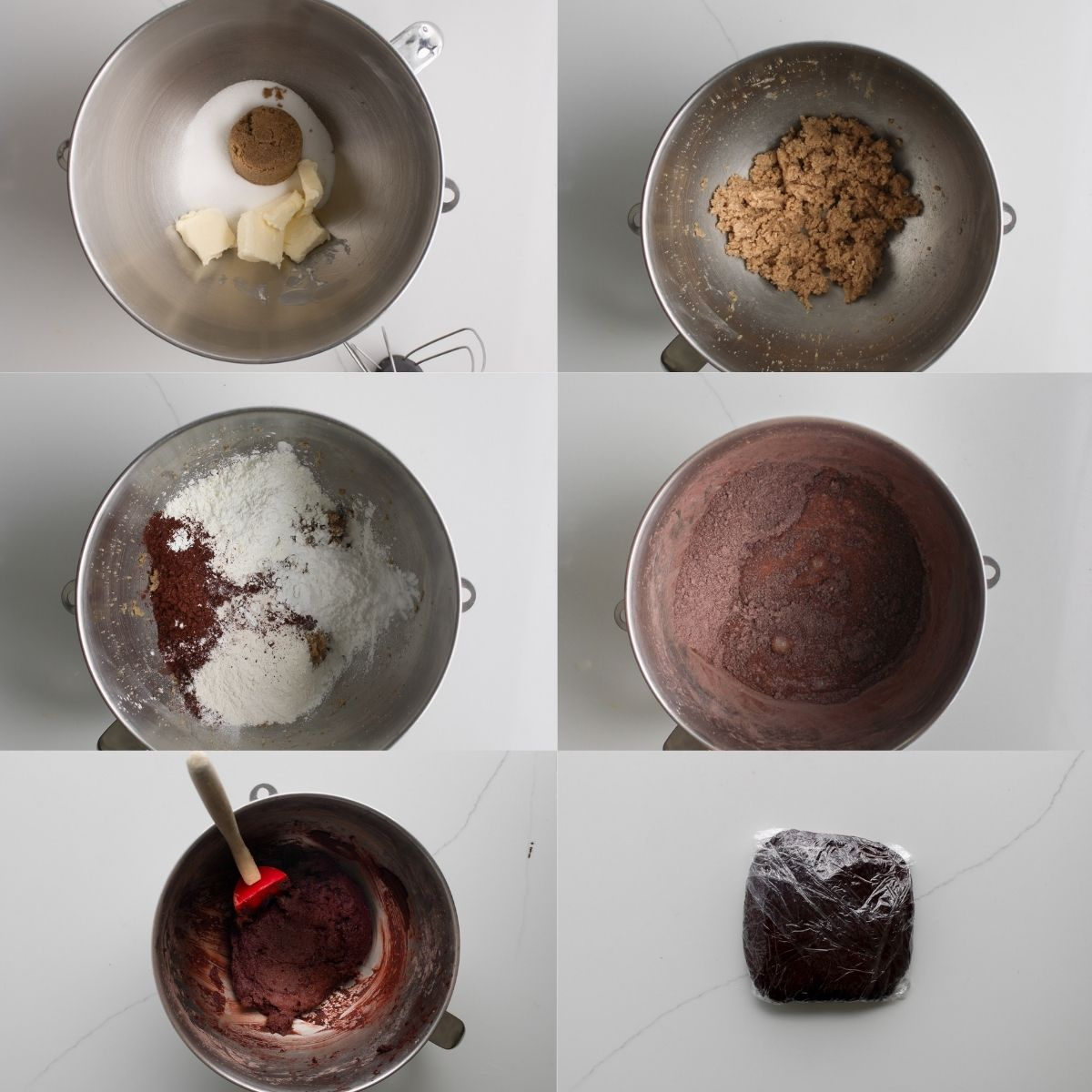 Steps for making the cookie dough for ice cream sandwiches