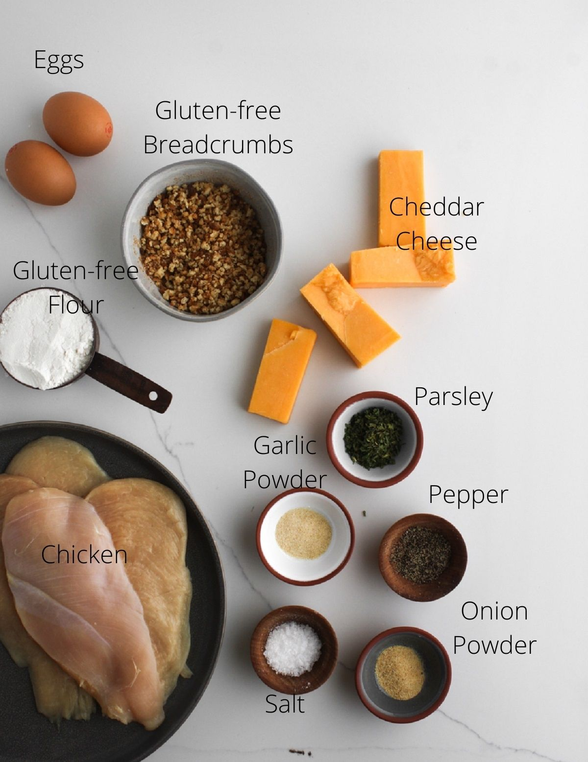 Crispy cheddar chicken ingredients laid out.