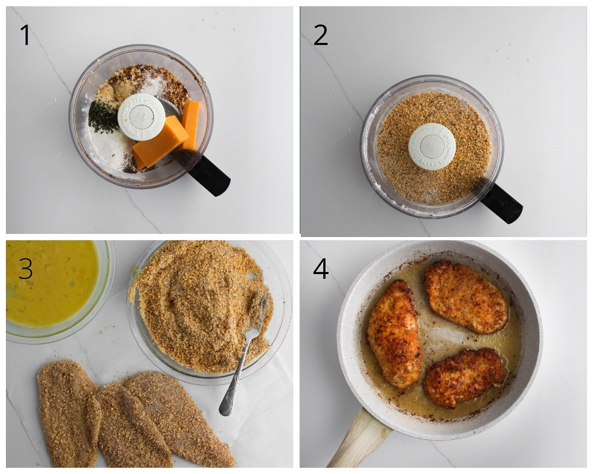 How to make the cheddar coating for the chicken.